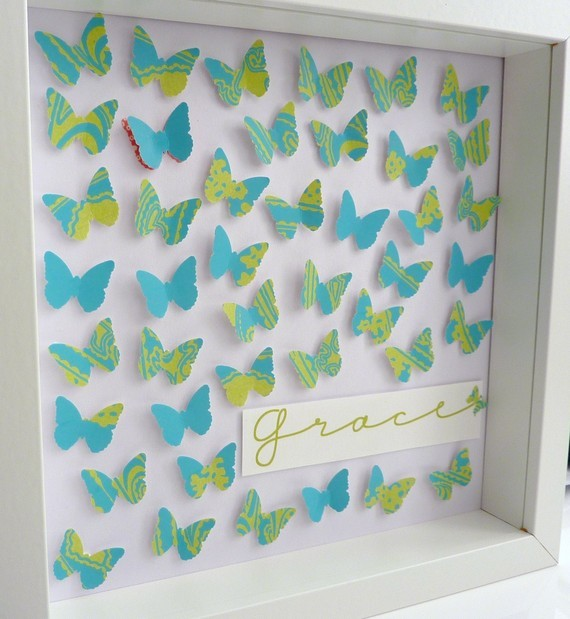 Handmade Paper Art Butterflies Keepsake In Blue Green Frame Size 10 X 10inch