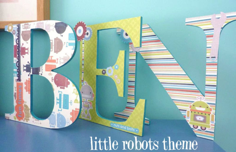 How To Decorate Wooden Letters For Nursery: Handpainted And Decorated Wooden Letters Nursery Decor BOY