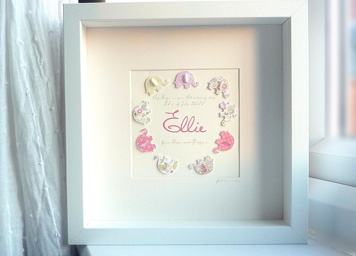 c9820d21dfc 3D Paper Art Elephant. Personalized Baby Girl Gift. Keepsake Box Frame.